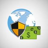Billet de banque de globe encaissant la protection sûre de bouclier Photos stock