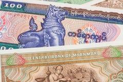 Billet de banque de kyat d'argent de Myanmar Photos stock