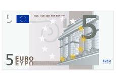 Billet de banque de l'euro cinq Photos libres de droits
