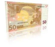 Billet de banque de l'euro cinquante avec la réflexion Photo stock