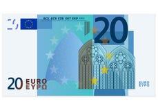Billet de banque de l'euro vingt Image libre de droits