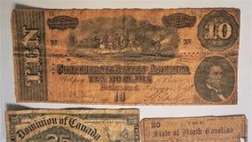 Billet de banque des Dix dollars des états confédérés photo libre de droits