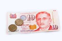 Billet de banque des Dix dollars de Singapour Photo libre de droits