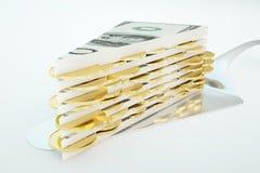 Billet de banque du dollar et gâteau de pièce de monnaie Images libres de droits