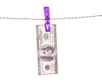 Billet de banque du dollar sur la corde Image stock
