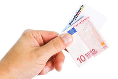 Billet de banque et carte de santé électronique Photos libres de droits