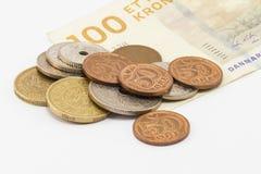 Billet de banque et pièces de monnaie danois Images libres de droits