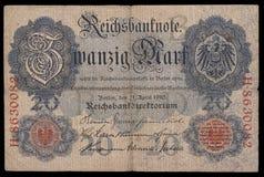 Billet de banque (facture) de keiser Allemagne mark 20 1910 face Image libre de droits