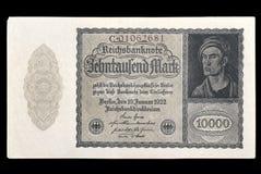 Billet de banque (facture) de république de Weimar mark 10000 1922 face Photo libre de droits