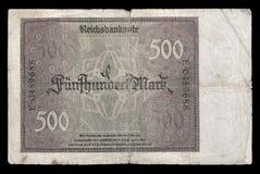 Billet de banque (facture) de république de Weimar mark 500 1922 Inverse Images libres de droits