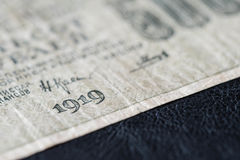 Billet de banque obsolète dans cinq cents roubles russes, 1919 ans Image stock