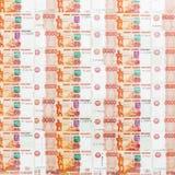 Billet de banque russe 5000 roubles de fond Configuration plate, vue supérieure Images libres de droits