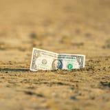 Billet de banque de valeur d'un dollar dans le le sable sur la plage Concept de voyage et de vacances bon marché photos stock