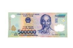 Billet de banque vietnamien de coup de la devise 500.000 Photos libres de droits