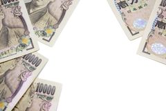 billet de banque de Yens d'argent sur le fond, les affaires et les finances blancs photo stock