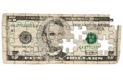 Billet de cinq dollars usé Photo libre de droits