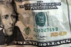 Billet de vingt dollars devise des USA. Images libres de droits