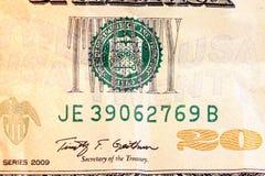 Billet de vingt dollars devise des USA. Photographie stock libre de droits