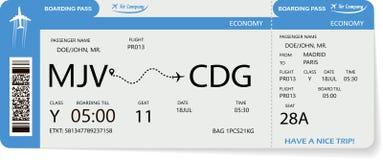 Billet de vol Carte d'embarquement bleue illustration stock