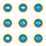 Billet icons set, flat style. Billet icons set. Flat set of 9 billet vector icons for web isolated on white background stock illustration