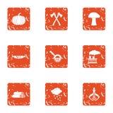 Billet icons set, grunge style. Billet icons set. Grunge set of 9 billet vector icons for web isolated on white background vector illustration