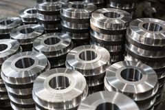 Billet parts from turning and milling. Products of Metalworking. Stock Photos
