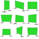 Billet press wall with green screen banner. Stock Photos