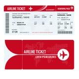 Billete de avión o documento de embarque para viajar en avión aislado en blanco Ilustración del vector Imagen de archivo libre de regalías