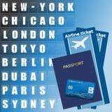 Billete de avión, tarjeta de crédito y pasaporte Fotografía de archivo libre de regalías