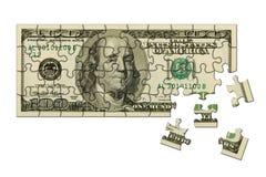 Billete de banco 100 dólares de rompecabezas Fotos de archivo libres de regalías