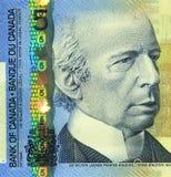Billete de banco actual del canadiense $5 Fotografía de archivo