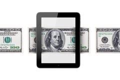 Billete de banco alrededor de la tableta ilustración del vector