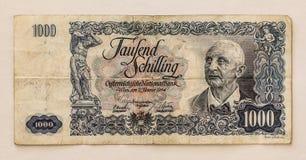Billete de banco austríaco viejo: 1000 chelines 1954 Fotografía de archivo