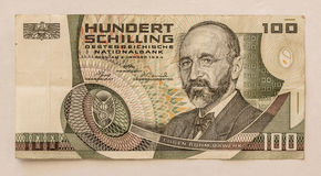 Billete de banco austríaco viejo: 100 chelines 1984 Imagen de archivo