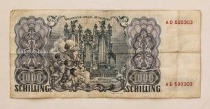 Billete de banco austríaco viejo: 1000 chelines 1954 Imagen de archivo
