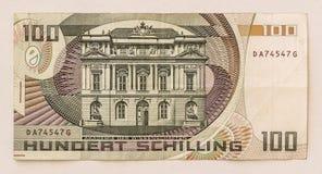 Billete de banco austríaco viejo: 100 chelines 1984 Fotografía de archivo libre de regalías