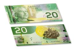 Billete de banco canadiense Imagen de archivo