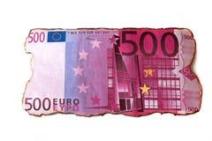 Billete de banco carbonizado euro aislado Foto de archivo libre de regalías