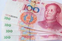 Billete de banco chino de la moneda cientos yuan Imagen de archivo