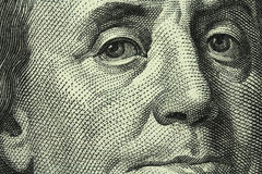 Billete de banco cientos dólares de EE. UU. Imagen de archivo libre de regalías