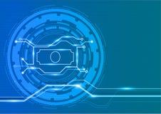 Billete de banco con concepto gráfico digital de la innovación Imágenes de archivo libres de regalías