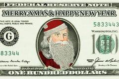 Billete de banco con Santa Claus Fotos de archivo libres de regalías