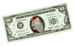 Billete de banco con Santa Claus Imagen de archivo