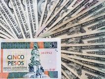 billete de banco cubano de tres convertibles y fondos de los Pesos con las cuentas de dólares americanas