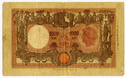 Billete de banco de 1000 liras Imágenes de archivo libres de regalías
