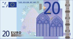 Billete de banco de 20 euros. Foto de archivo libre de regalías