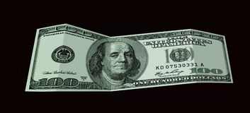 Billete de banco de 100 dólares de los E.E.U.U. aislados en negro Imagenes de archivo