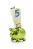 Billete de banco de la hucha y del euro cinco Foto de archivo