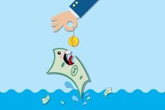 Billete de banco de la pesca con la moneda, concepto de la inversión Imagenes de archivo