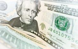 Billete de banco de veinte dólares Imagen de archivo libre de regalías